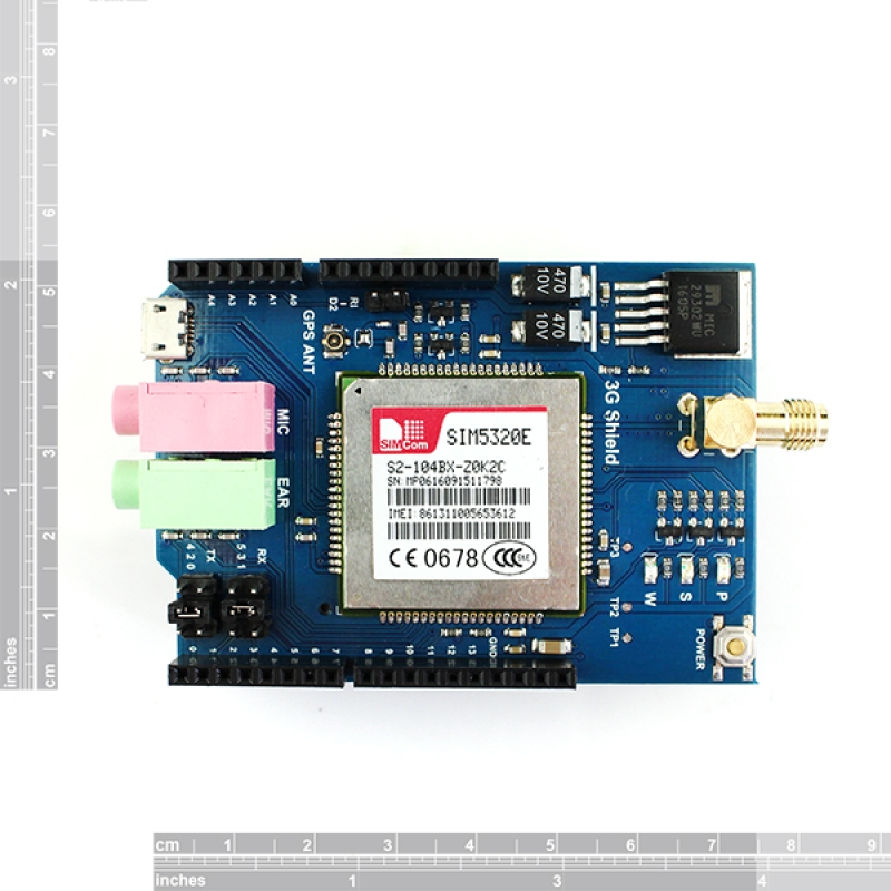 3G/GPRS/GSM Shield for Arduino with GPS - European version
