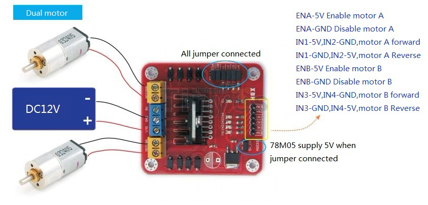 L298n motor driver board for Dc motor driver ic