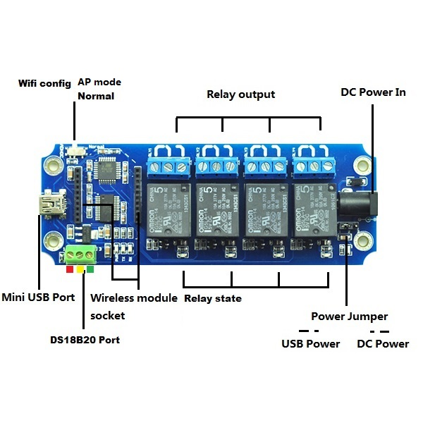 TOSR04 - 4 Channel Smartphone Bluetooth Relay Kit - (Andorid/iOS)